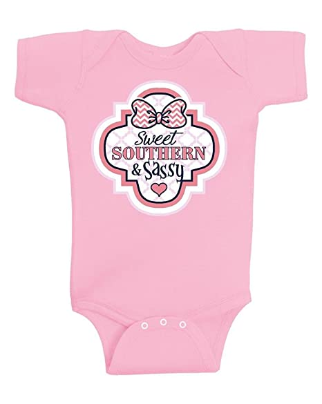 f6d46dad Gina Lou Sweet Southern & Sassy Rabbit Skin Onesie Infant Bodysuit Baby  Romper Pink (24