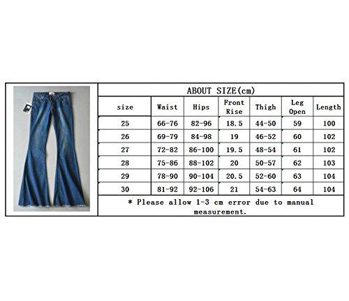 Vintage Altos Mujer Pantalones Pantalones Retro 70 Casual Acampanados los Años Cintura de la Negro Elásticos de Alta para de Moda gSBPRS
