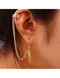 Coromose Fashion Punk Style Bullet Pendants Tassel Ear Clip Earrings Jewelry