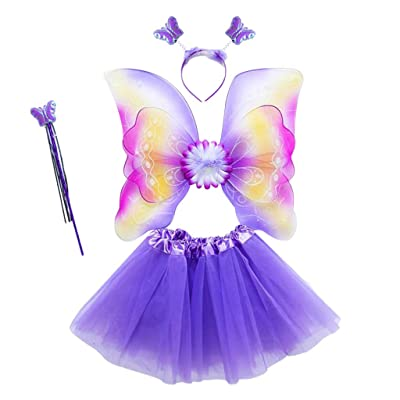 Rainbow Fairy Costume Fancy Dress Up for Girls, Butterfly Wings, Tutu, Magic Wand and Headband Set for 3-8 Years Girls (05#): Toys & Games