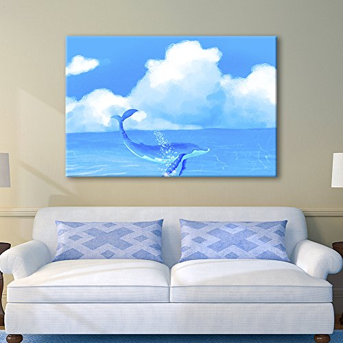 Hand Drawing Style Blue Whale Swimming in The Ocean