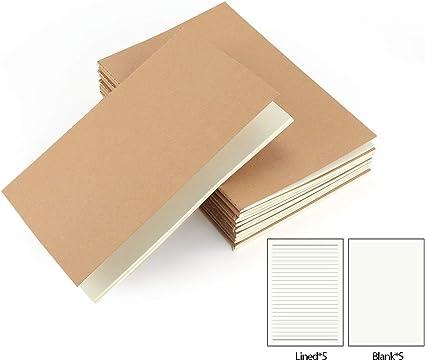 VEESUN Pack de 10 cuadernos, A5 Tapa de Kraft Blanda 5 líneas y 5 Blanco 60