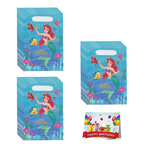 Little Mermaid Ariel Birthday Party Favor Treat Bags Bundle Pack of 24