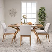 Katherine Light Beige Fabric/ Natural Oak Finish Curved Leg Rectangular 5 Piece Dining Set