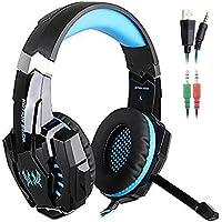 SENHAI G9000 Auriculares Gaming para PS4, PC, Xbox One Controller, Auriculares con micrófono que cancela el ruido sobre el oído, luz LED, audifonos gamer -Negro + Azul