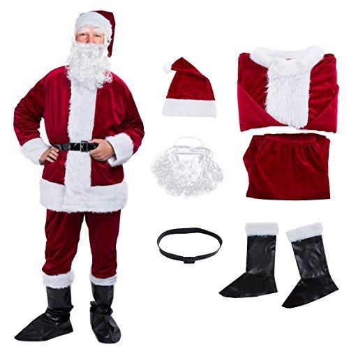 Deluxe Velvet Santa Suit (Christmas Santa Claus Costume with Beard,Velvet Men's Deluxe Santa Suit,Wine Red,Size M to L)