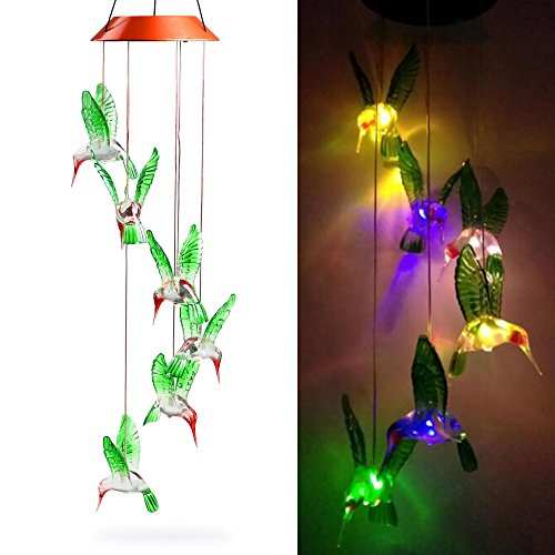Color Changing LED Solar Mobile Wind Chime, Fengus Creative Solar-powered LED Wind Chime Bell Outdoor Hanging lamp For Home/ Party/ Garden Decoration Lucky Gift - Hummingbird