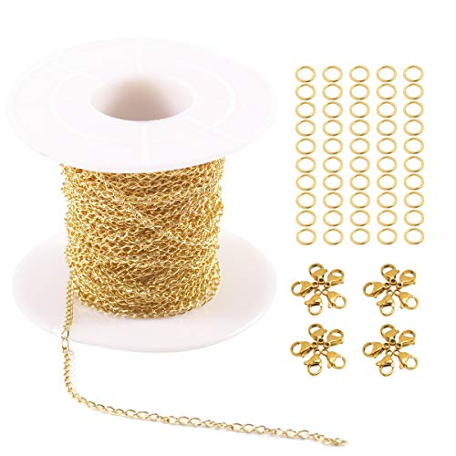(Tiparts 33FT 18K Gold Plated Cable Chains Stainless Steel Extender Chains Link Necklace Bulk for Jewelry Making with with 20 Lobster Clasps and 50 Jump Rings (Gold, 2mm))