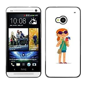 GOODTHINGS ( NO PARA HTC ONE MINI M4) Funda Imagen Diseño Carcasa Tapa Trasera Negro Cover Skin Case para HTC One M7 - aventura chica pelirroja blanco de dibujos animados