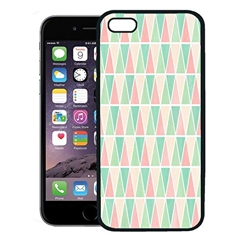 Semtomn Phone Case for iPhone 8 Plus case,Watercolor Mint Green Seafoam Blue Light Pink and Beige Triangle Pattern Geometric Abstract iPhone 7 Plus case Cover,Black