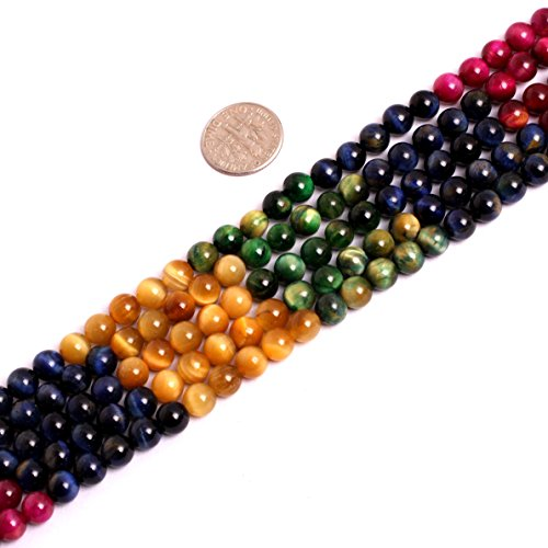 Round Gemstone Dyed Color Tiger Eye Stone Beads Strand 15 Inch Jewelry Making Beads (Mix color 6mm)