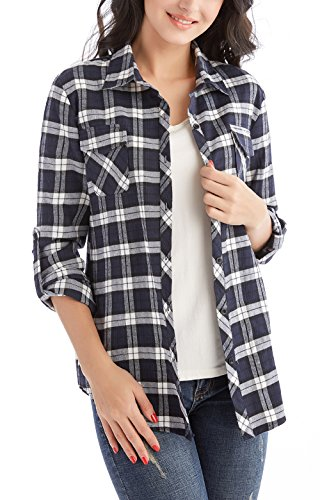 Jug&Po Womens Casual Cuffed 3 4 Long Sleeve Plaid Button Down Shirts Blouse Tops (Small, Navy Blue) ()