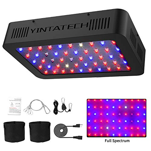 300W LED Grow Light Full Spectrum, with 60pcs Dual Chips LEDs, Adjustable Rope Hanger, Grow Bags, Daisy Chain Function Plant Growing Lamps for Hydroponic Greenhouse Indoor Plants Veg and Flower