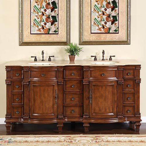 Silkroad Exclusive Bathroom Vanity HYP-0722-T-UIC-72 Esther 72'' by Silkroad Exclusive