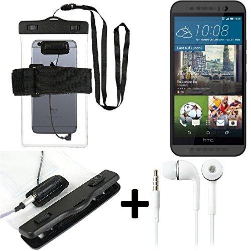 Estuche estanco al agua con entrada de auriculares para HTC One M9 + auricular incluido, transparente   Trotar bolsa de playa al aire libre caja brazalete del teléfono caso de cáscara bajo playa - K-S