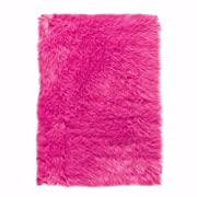 Faux Sheepskin Area Rug, 5'X8', Hot Pink
