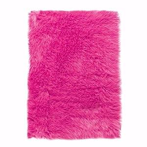 Faux Sheepskin Area Rug, 3u0027X5u0027, Hot Pink
