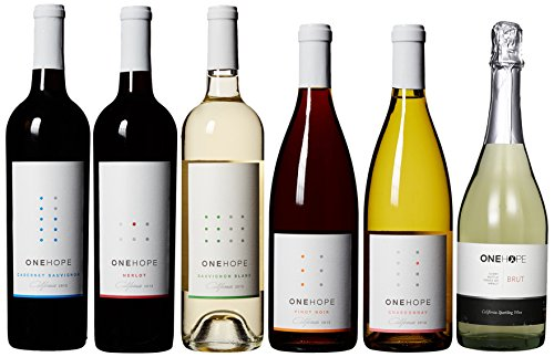 ONEHOPE Best of California II Wine Mixed Pack, Includes California Merlot, Pinot Noir, Sauvignon Blanc, Brut Champagne, California Chardonnay, Cabernet Sauvignon, 6 x 750 mL