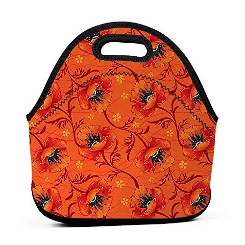 Neoprene Lunch Bag Orange,Poppy Flower Series Blossoms Romance Boho Chic Artistic Decor Print,Burnt Orange Yellow Black,satchel lunch bag for men