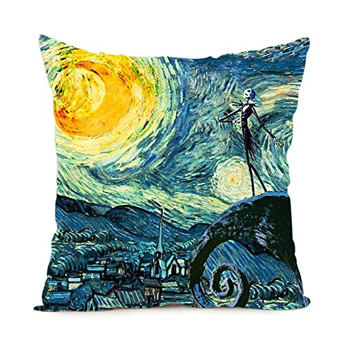 CHITOP Nightmare Before Christmas | Starry Night The Nightmare Before Christmas Square Throw Pillow for Living Room Bed Room Great Gift for Friends -