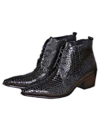 US Size 5-12 New Black Alligator Print Zip Leather Mens Dress Ankle Boots Shoes