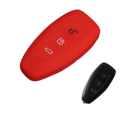 Happyit Silicona Control Remoto llave Cubierta Caso Llavero para Ford Focus MK3 MK4 escape Kuga ecosport Nuevo Fiesta (Rojo)