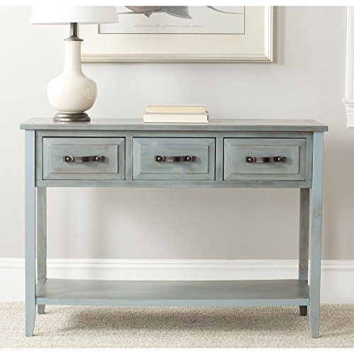 Blue Console - Safavieh AMH6502C American Homes Collection Aiden Barn 3-Drawer Console Table, Blue