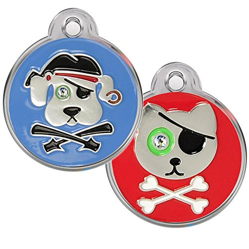 Pirate Dog and Cat Pet ID Tags - Personalized. Custom Engraved with up to 4 Lines of Text. Swarovski Crystal Tags. (Pirate Kitty, -