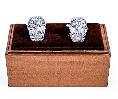 [MRCUFF Egyptian Headdress Pharaohs Egypt Pair Cufflinks in a Presentation Gift Box, Polishing Cloth] (Pharaoh Headdress)