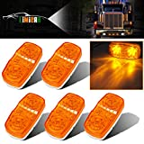 LIMICAR 5PCS LED Side Marker Lights 10 Diodes Double Bullseye Amber LED Trailer Truck Side Marker Light Clearance Indicator Tiger Eye Lamp