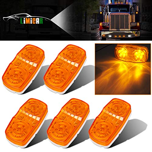(LIMICAR 5PCS LED Side Marker Lights 10 Diodes Double Bullseye Amber LED Trailer Truck Side Marker Light Indicator Tiger Eye Lamp)