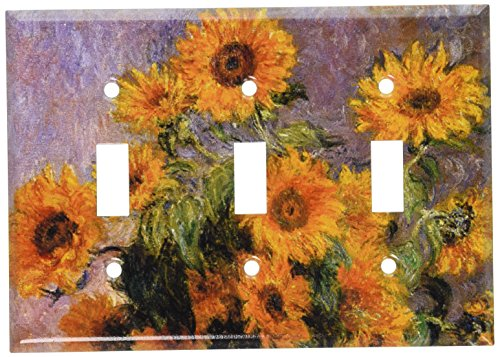 Sunflower Toggle - Art Plates - Monet: Sunflowers Switch Plate - Triple Toggle
