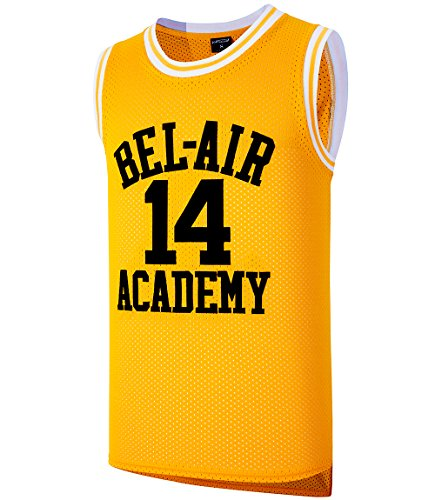 JOLI SPORT Smith #14 Bel Air Academy Yellow Basketball Jersey S-XXXL -