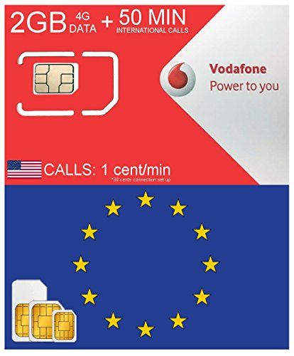EUROPE SIM CARD by VODAFONE SPAIN 2GB DATA 4G SPEED + 50 MIN INTERNATIONAL CALLS – FREE INCOMING CALLS – VALID 28 DAYS FROM ACTIVATION DATE