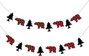 CC HOME Lumberjack Banner,Buffalo Plaid Party Banner for Kids,Boys,Girls,Birthday Party,Baby Show Party Decoration