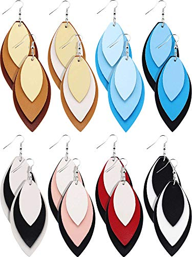 Tatuo 8 Pairs Teardrop Leather Earrings Petal Drop Earrings Antique Lightweight Leather Earrings for Women Girls (Mix Color Set D) ()