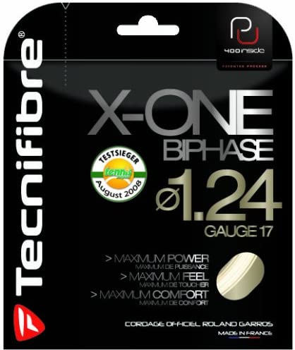 Tecnifibre X-One Biphase 17 Gauge 1.24mm Tennis String NEW Natural