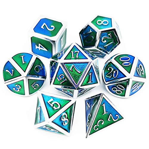 Haxtec Metal Dice Set D&D Blender Silver Blue Green Metal DND Dice for Dungeons and Dragons RPG Games-Sea