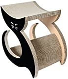 Pet Life CTS4BK Purresque Modern Fashion Designer Kitty Cat Scratcher Lounger with Catnip, One Size, Black
