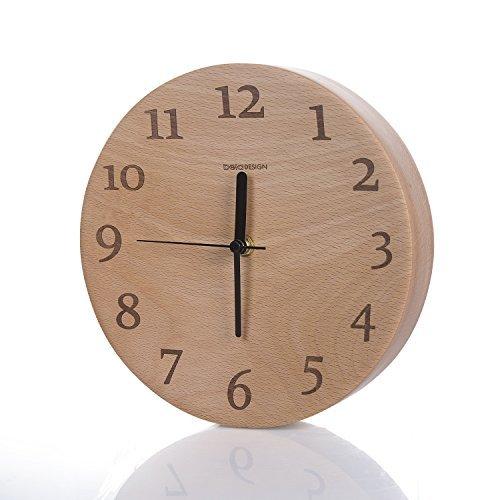 Beladesign Wanduhr Uhr aus Retro Holz FSC Buche Nacht Silent Alarm Klassische Round Zimmer Büro