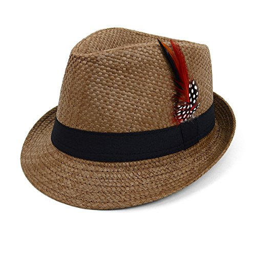 Unisex Trilby Summer Fedora Hat with Feather