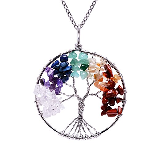 Root Chakra Gemstone Family Tree of Life Rainbow Tumbled Natural Stone Necklace for Womens Handmade Healing Raw Stone Wire Wrapped Amethyst Birstone P…