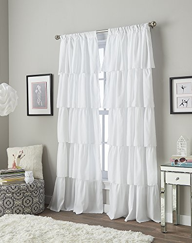 Flounced Ruffle Rod Pocket Curtain Panel