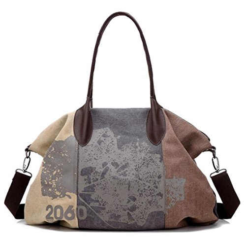 KISS GOLD(TM) Womens Casual Canvas Shoulder Bag Hobo Tote Top Handle Bag, Brown (Bag Satchel Tapestry)