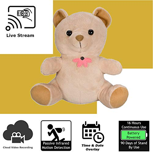 (Discover IT | Wi-Fi Hidden Camera Spy Cam Home Surveillance Nanny Cam Teddy Bear with Cloud Video Recording, Battery Operated)