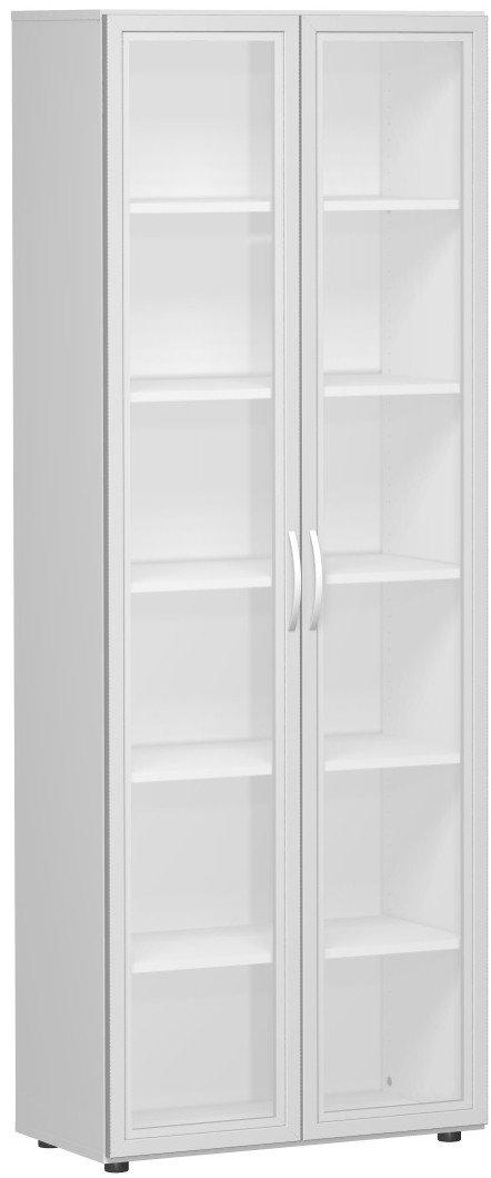 Geramöbel Flügeltürenschrank mit satinierten Glastüren im Holzrahmen, mit Standfüßen, inkl. Türdämpfer, nicht abschließbar, 800x420x2160, Lichtgrau
