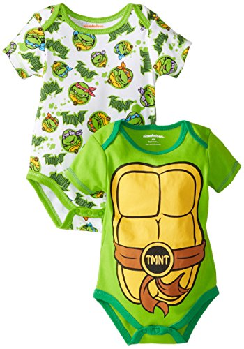 Nickelodeon Baby Baby-Boys Newborn Ninja Turtle 2 Pack Bodysuit Set with Muscles, Green, 0-3 Months -
