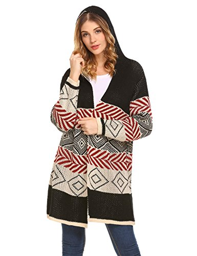 Fanala Women's Boho Long Sleeve Floral Print Open Front Soft Knit (Print Knit Duster)