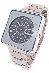 YouYouPifa Popular Square Rotatable Dial Stainless Steel Quartz Men's Watch (Black)