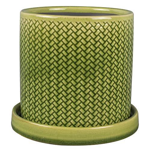TRENDSPOT ECR11452S-080B 8 INCH Fishscale Pot, Crackle Green -